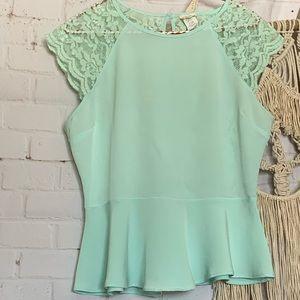CLEARANCE 🌷 Mint green lace-back peplum top 🌷